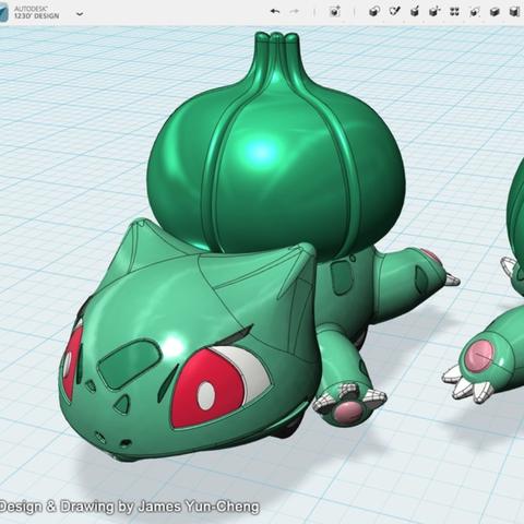 Capture d'écran 2018-01-17 à 12.21.58.png Télécharger fichier STL gratuit Pokémon - Bulbasaur tirer voiture jouet • Plan pour imprimante 3D, cycstudio