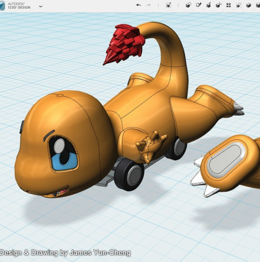 Capture d'écran 2018-01-17 à 14.23.17.png Télécharger fichier STL gratuit Pokémon - Charmander voiture jouet • Design à imprimer en 3D, cycstudio