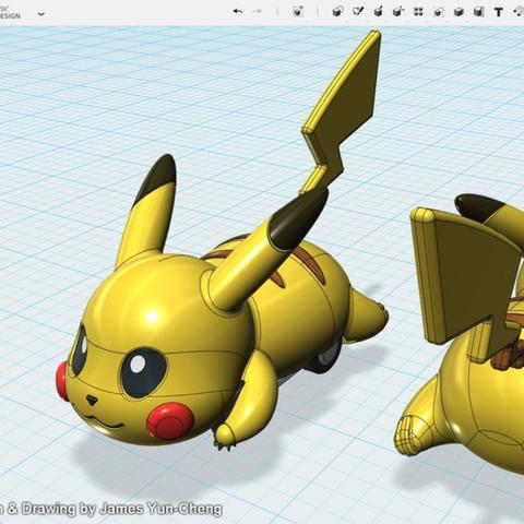 Capture d'écran 2018-01-17 à 12.20.17.png Télécharger fichier STL gratuit Pokémon - Pikachu tirer voiture jouet • Objet pour imprimante 3D, cycstudio