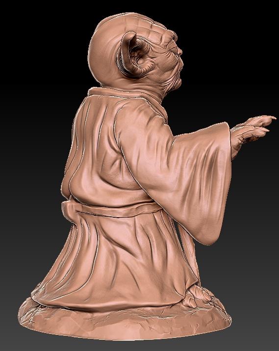 5.jpg Télécharger fichier OBJ gratuit Yoda HD StarWars • Modèle pour impression 3D, 3d-designs
