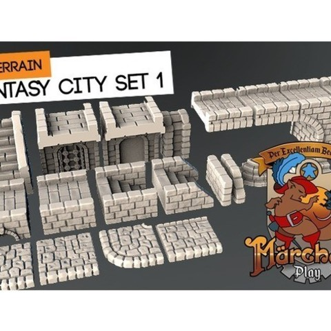 Download free 3D printer designs Fantasy city set, HeribertoValle
