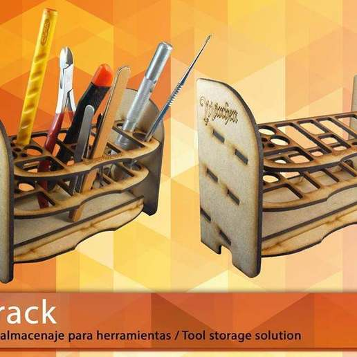 Download free 3D printer designs Brushrack and Toolrack, HeribertoValle