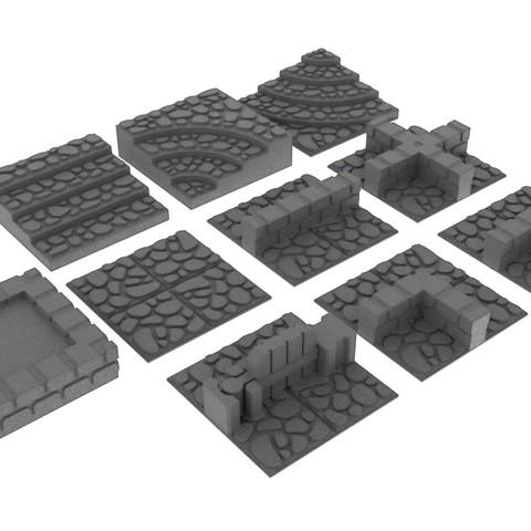 render.jpg Download STL file GeneriTiles - Tabletop RPG Tileset • 3D printable object, daandruff