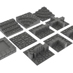 render.jpg Download STL file GeneriTiles - Tabletop RPG Tileset • 3D printable object, daandruff