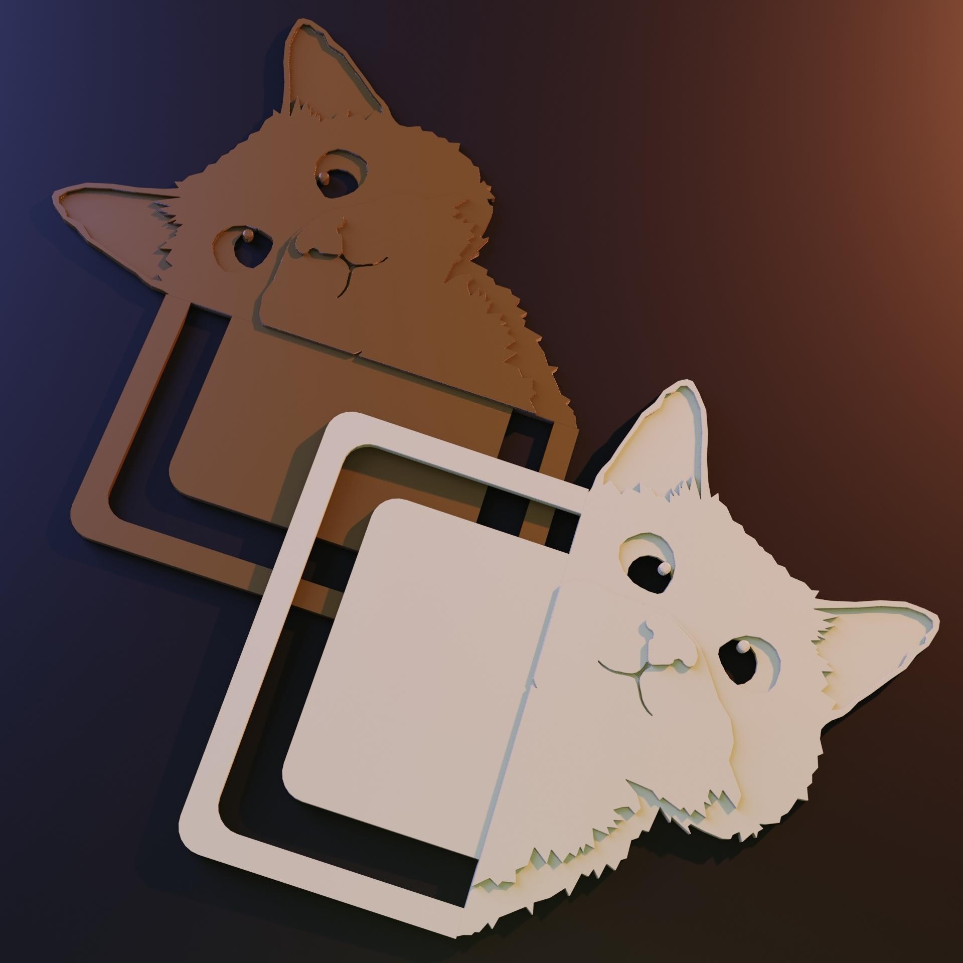 Sneaky cat bookmark_Rendering.jpg Télécharger fichier STL gratuit Marque-page chat caché • Modèle pour impression 3D, Arkatz