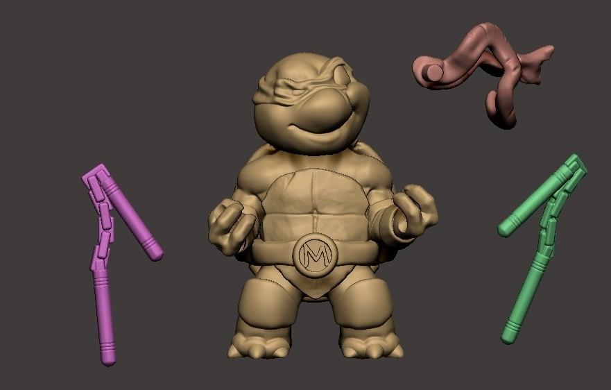 ZBrush Document.jpg Download STL file Chibi Mutant Ninja turtles Mickey • 3D printable template, Fabiosartbox