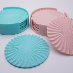 radial-wave-drinks-coasters-with-holder-3d-printing-186656.jpg Download STL file Radial drinks coasters with holder • 3D printable object, Pongo