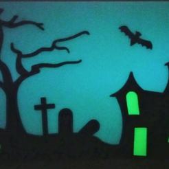 modelos 3d gratis Halloween Glow en la percha de ventana oscura, Pongo