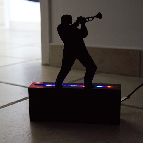 Modelos 3D músico de jazz trompeta sombra músico de jazz, darkunu