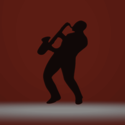 3D printer files Jazz musician shadow saxophone musician, darkunu