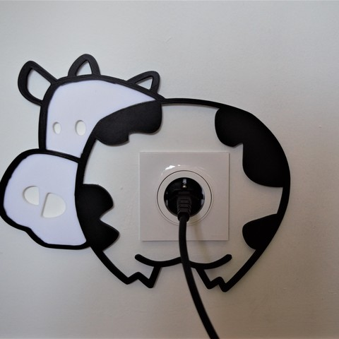 Download 3D printing templates Cow wall decoration for electrical outlets, imagin3D
