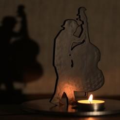 Download STL file Jazz musician double bass shadow musician, imagin3D