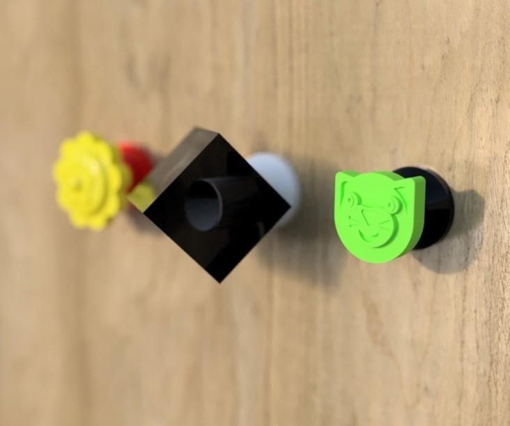 pateresCOUL.jpg Download free STL file Coat hooks cat, flower and cube. • 3D printable object, michoko