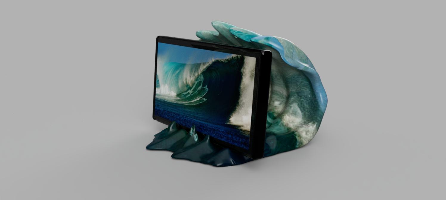 vague support tel 2.png Télécharger fichier STL gratuit support vague • Design pour imprimante 3D, micaldez