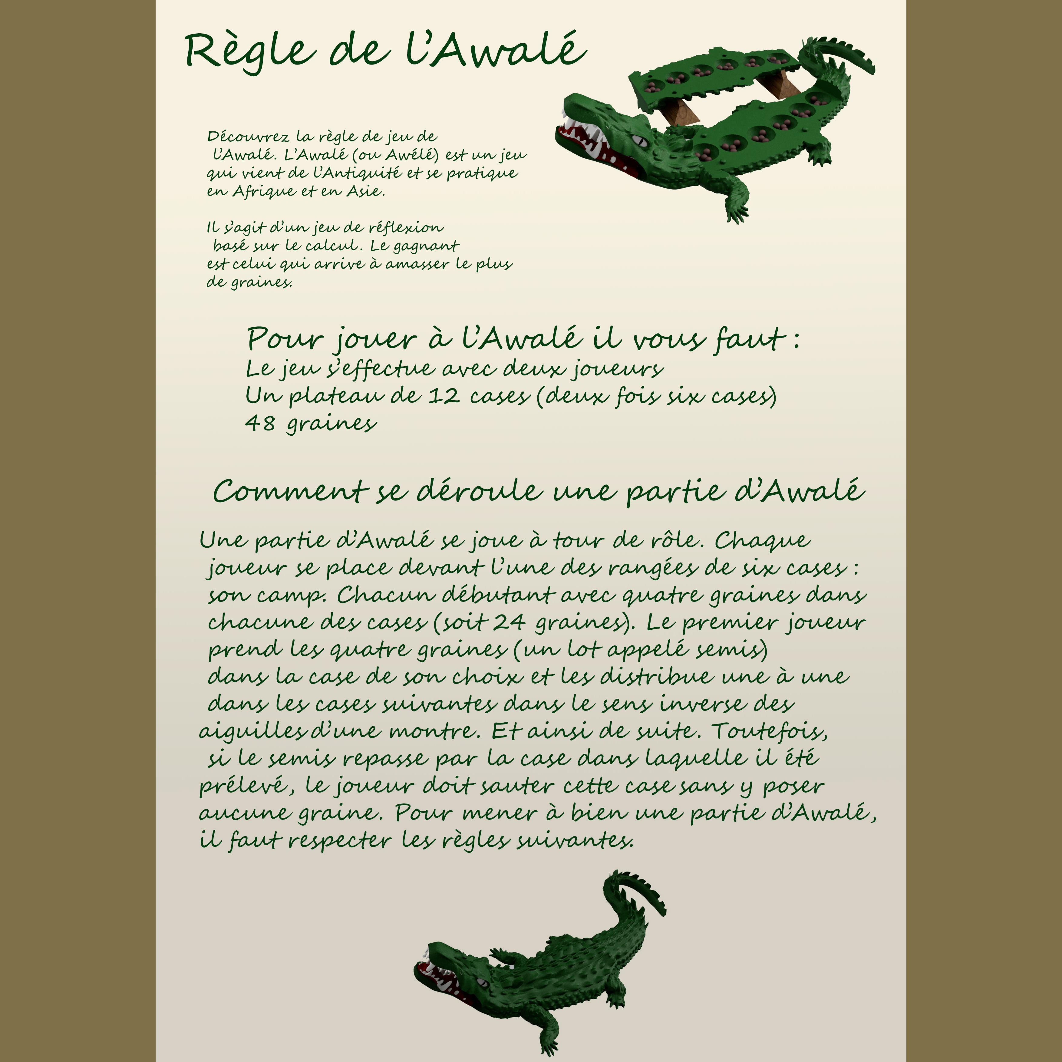 page 1.jpg Download free STL file Awalé crocodile • 3D printable template, micaldez