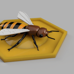 3D printer models bee in his cell, micaldez