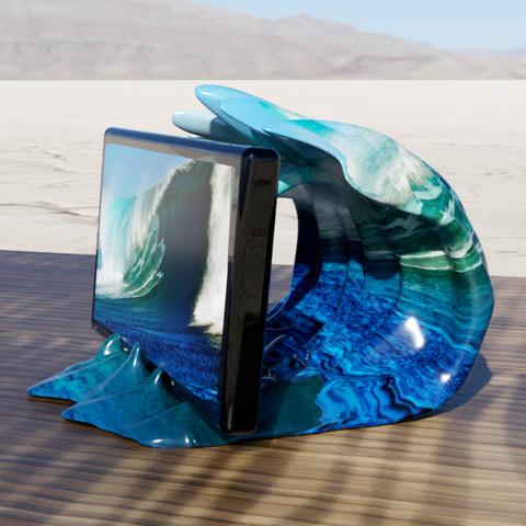 vague support tel 3.png Télécharger fichier STL gratuit support vague • Design pour imprimante 3D, micaldez