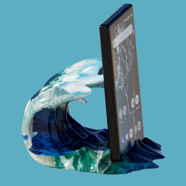 vague support tel 5.png Télécharger fichier STL gratuit support vague • Design pour imprimante 3D, micaldez