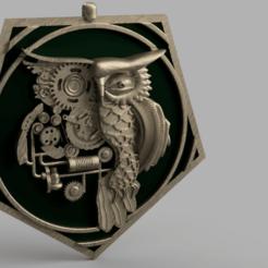 medaillibou.png Download STL file owl medallion • Object to 3D print, micaldez