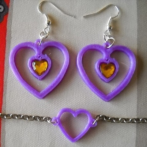 Free 3d printer files Earrings and Heart Bracelet, PhilEllero