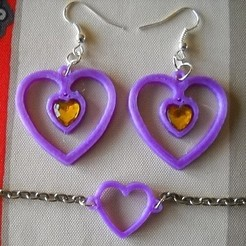 Free 3D printer files Earrings and Heart Bracelet, PhilE