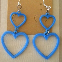 BO 2 Coeurs creux.JPG Download STL file Double Heart Earrings • Template to 3D print, PhilE