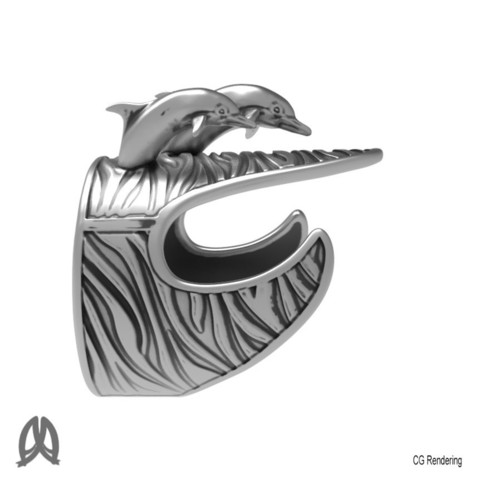 Dolphin Ring Right View.jpg Download STL file Dolphins Thumb Ring • Design to 3D print, Double_Alfa_Jewelry