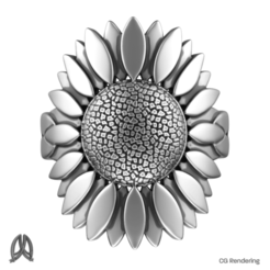SunflowerRing-Top.png Download STL file Sunflower Ring • 3D printing object, Double_Alfa_Jewelry
