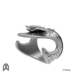 3D printer file Eagleray Thumb Ring, Double_Alfa