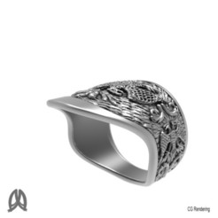 STL Double-headed Eagle Thumb Ring, Double_Alfa
