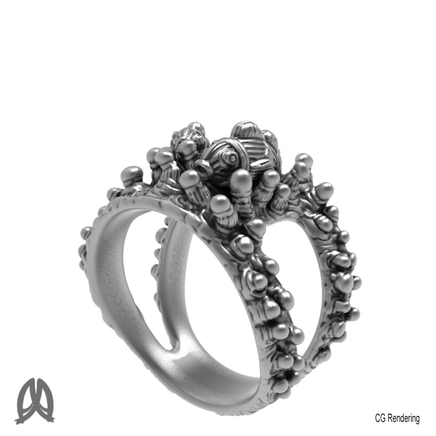 Anemone Ring Perspective View.jpg Download STL file Anemon Ring • 3D printable object, Double_Alfa_Jewelry