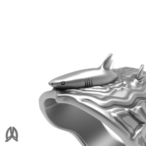 Great White Ring Closeup View.jpg Download STL file Greatwhite Thumb Ring • 3D print model, Double_Alfa_Jewelry