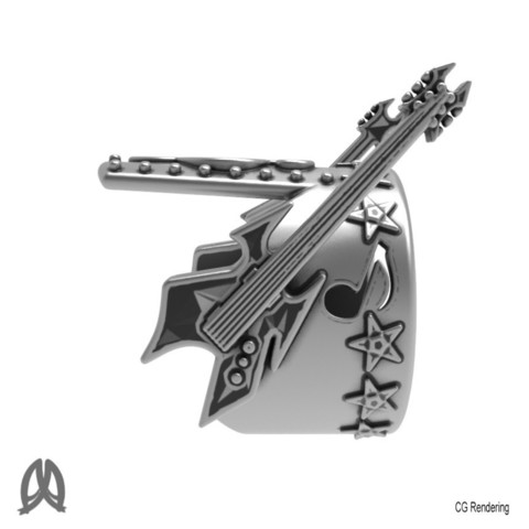 Electric Guitar Ring Left View.jpg Download STL file Guitar Thumb Ring • 3D printer object, Double_Alfa_Jewelry