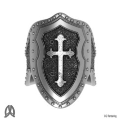 Download 3D print files Cross and Shield Thumb Ring, Double_Alfa_Jewelry