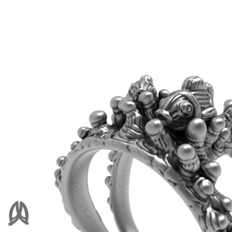 Anemone Ring Closeup View.jpg Download STL file Anemon Ring • 3D printable object, Double_Alfa_Jewelry