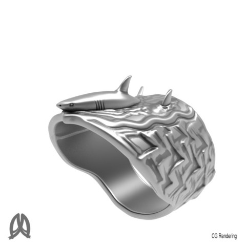 Great White Ring Perspective View.jpg Download STL file Greatwhite Thumb Ring • 3D print model, Double_Alfa_Jewelry