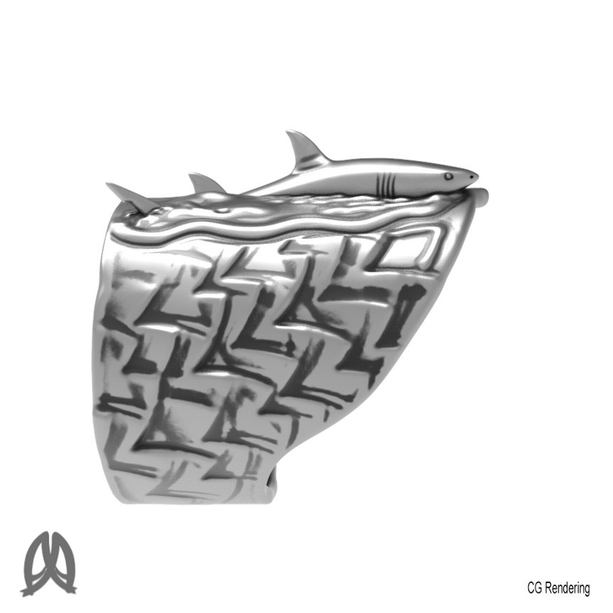 Great White Ring Right View.jpg Download STL file Greatwhite Thumb Ring • 3D print model, Double_Alfa_Jewelry