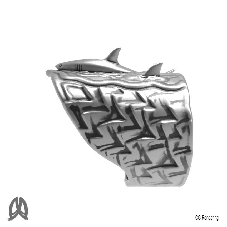 Great White Ring Left View.jpg Download STL file Greatwhite Thumb Ring • 3D print model, Double_Alfa_Jewelry