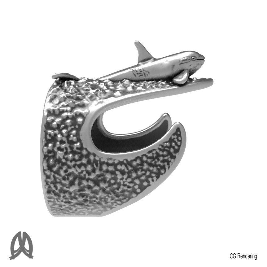 Orca Ring Right View.jpg Download STL file Orca Whale Thumb Ring • Template to 3D print, Double_Alfa_Jewelry