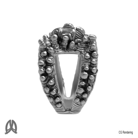 Anemone Ring Left View.jpg Download STL file Anemon Ring • 3D printable object, Double_Alfa_Jewelry