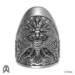 Download 3D printer designs Double-headed Eagle Thumb Ring, Double_Alfa_Jewelry