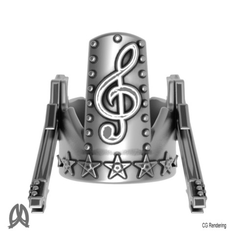 Electric Guitar Ring Top View.jpg Download STL file Guitar Thumb Ring • 3D printer object, Double_Alfa_Jewelry