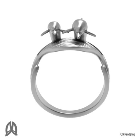 Dolphin Ring Front View.jpg Download STL file Dolphins Thumb Ring • Design to 3D print, Double_Alfa_Jewelry