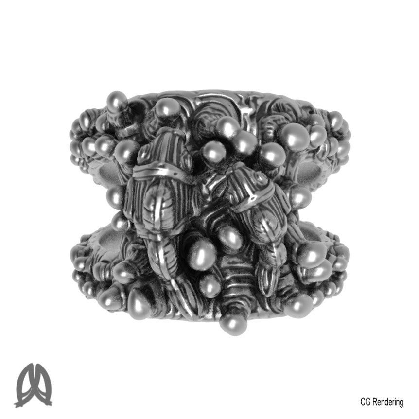Anemone Ring Top View.jpg Download STL file Anemon Ring • 3D printable object, Double_Alfa_Jewelry