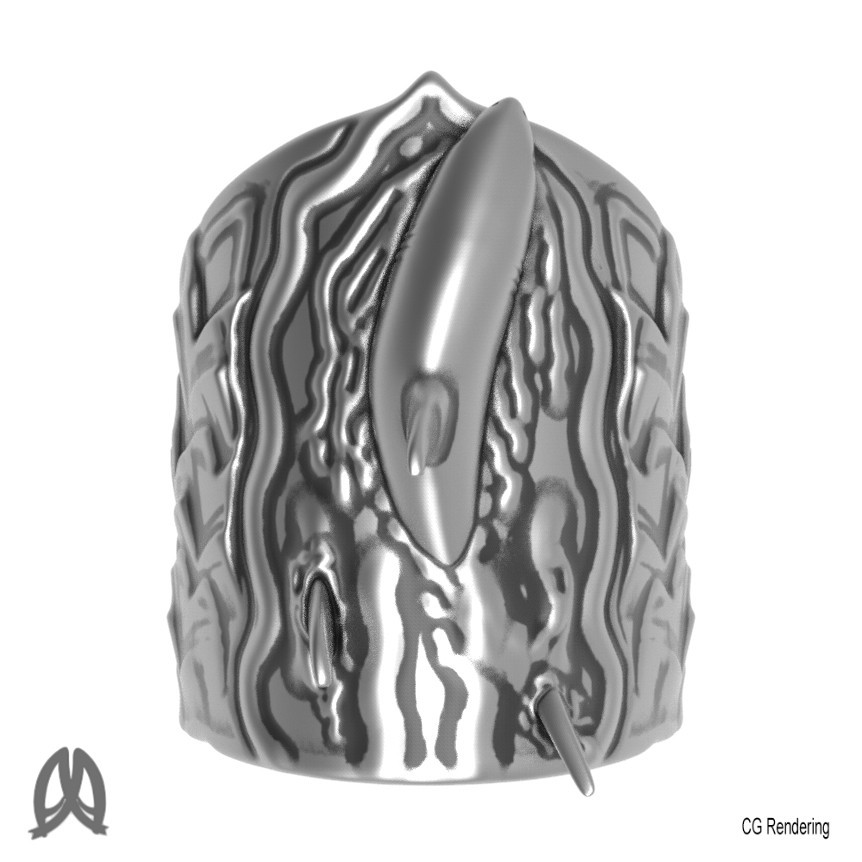 Great White Ring Top View.jpg Download STL file Greatwhite Thumb Ring • 3D print model, Double_Alfa_Jewelry