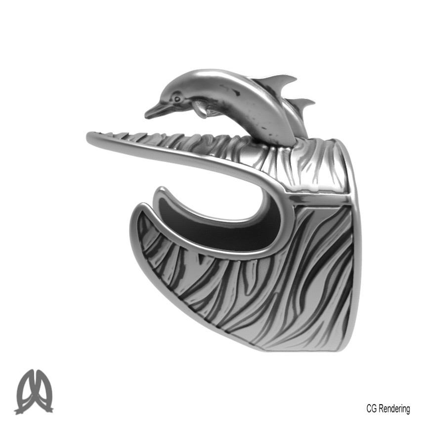 Dolphin Ring Left View.jpg Download STL file Dolphins Thumb Ring • Design to 3D print, Double_Alfa_Jewelry