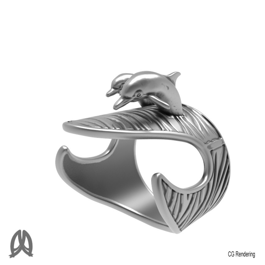 Dolphin Ring Perspective View.jpg Download STL file Dolphins Thumb Ring • Design to 3D print, Double_Alfa_Jewelry