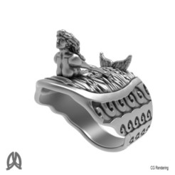 Mermaid Thumb Ring STL file, Double_Alfa