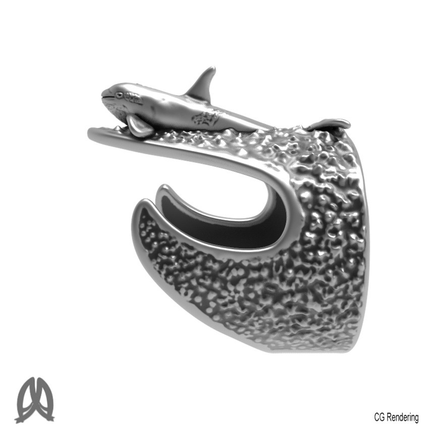 Orca Ring Left View.jpg Download STL file Orca Whale Thumb Ring • Template to 3D print, Double_Alfa_Jewelry