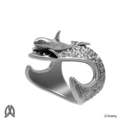 3D printer file Orca Whale Thumb Ring, Double_Alfa